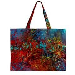 Abstract In Red, Turquoise, And Yellow Zipper Tiny Tote Bags by theunrulyartist