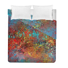 Abstract In Red, Turquoise, And Yellow Duvet Cover (twin Size) by digitaldivadesigns
