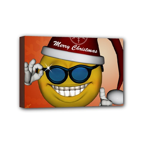 Funny Christmas Smiley With Sunglasses Mini Canvas 6  X 4  by FantasyWorld7
