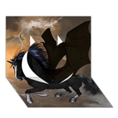 Awesome Dark Unicorn With Clouds Heart 3d Greeting Card (7x5)