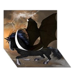 Awesome Dark Unicorn With Clouds Circle 3d Greeting Card (7x5)  by FantasyWorld7