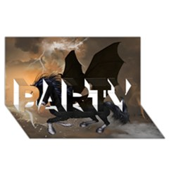 Awesome Dark Unicorn With Clouds Party 3d Greeting Card (8x4)