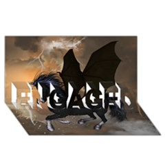 Awesome Dark Unicorn With Clouds Engaged 3d Greeting Card (8x4)  by FantasyWorld7