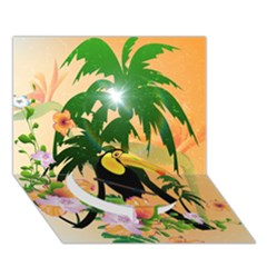 Cute Toucan With Palm And Flowers Circle Bottom 3d Greeting Card (7x5)  by FantasyWorld7