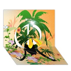 Cute Toucan With Palm And Flowers Peace Sign 3d Greeting Card (7x5)  by FantasyWorld7