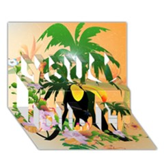 Cute Toucan With Palm And Flowers You Did It 3d Greeting Card (7x5) by FantasyWorld7