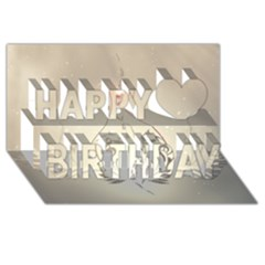 Music, Piano With Clef On Soft Background Happy Birthday 3d Greeting Card (8x4)  by FantasyWorld7