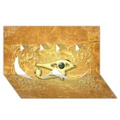The All Seeing Eye With Eye Made Of Diamond Twin Hearts 3d Greeting Card (8x4)