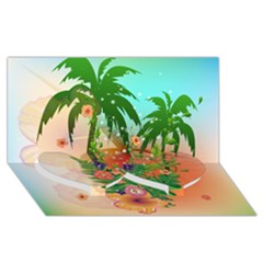 Tropical Design With Palm And Flowers Twin Heart Bottom 3d Greeting Card (8x4)