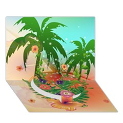 Tropical Design With Palm And Flowers Circle Bottom 3d Greeting Card (7x5)  by FantasyWorld7