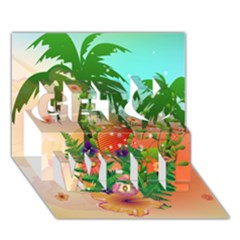 Tropical Design With Palm And Flowers Get Well 3d Greeting Card (7x5)