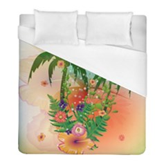 Tropical Design With Palm And Flowers Duvet Cover Single Side (twin Size) by FantasyWorld7