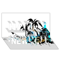 Surfing Happy New Year 3d Greeting Card (8x4)