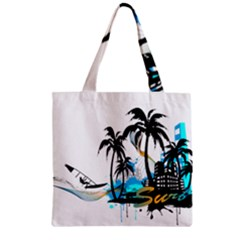 Surfing Zipper Grocery Tote Bags by EnjoymentArt