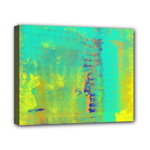 Abstract In Turquoise, Gold, And Copper Canvas 10  X 8  by theunrulyartist