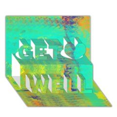 Abstract In Turquoise, Gold, And Copper Get Well 3d Greeting Card (7x5)  by theunrulyartist