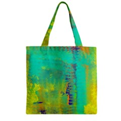 Abstract in Turquoise, Gold, and Copper Zipper Grocery Tote Bags by theunrulyartist
