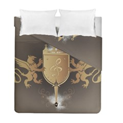 Music, Clef On A Shield With Liions And Water Splash Duvet Cover (Twin Size) by FantasyWorld7