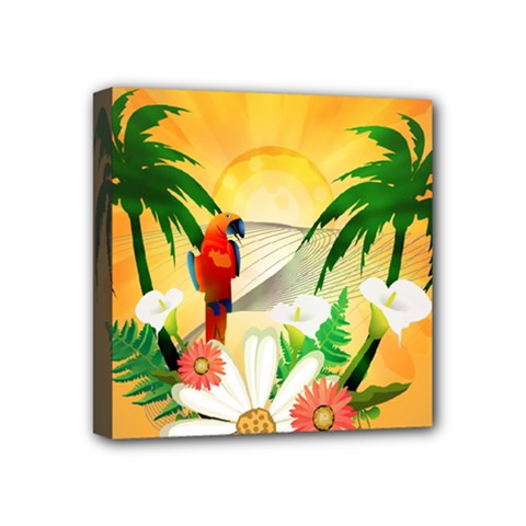 Cute Parrot With Flowers And Palm Mini Canvas 4  X 4  by FantasyWorld7