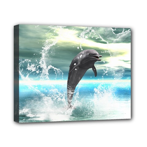 Funny Dolphin Jumping By A Heart Made Of Water Canvas 10  x 8  by FantasyWorld7