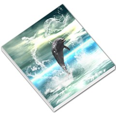 Funny Dolphin Jumping By A Heart Made Of Water Small Memo Pads by FantasyWorld7