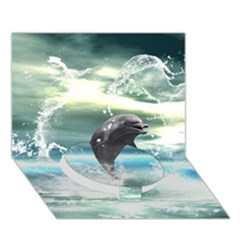 Funny Dolphin Jumping By A Heart Made Of Water Circle Bottom 3d Greeting Card (7x5)  by FantasyWorld7