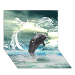 Funny Dolphin Jumping By A Heart Made Of Water Circle 3d Greeting Card (7x5)  by FantasyWorld7
