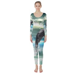 Funny Dolphin Jumping By A Heart Made Of Water Long Sleeve Catsuit by FantasyWorld7