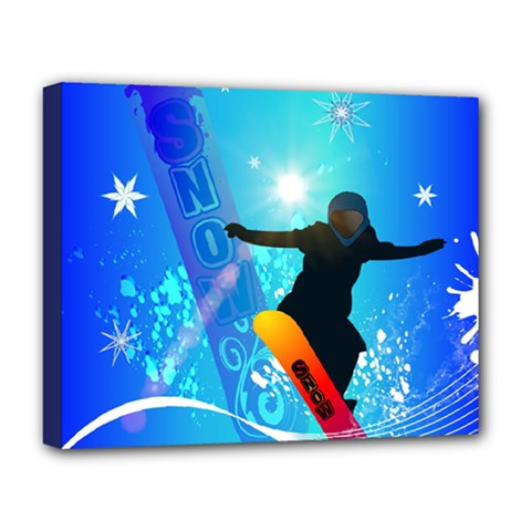 Snowboarding Deluxe Canvas 20  X 16   by FantasyWorld7