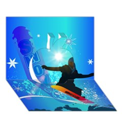 Snowboarding Apple 3d Greeting Card (7x5)  by FantasyWorld7