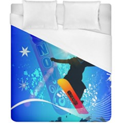 Snowboarding Duvet Cover Single Side (Double Size) by FantasyWorld7