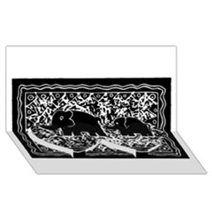 Elephant And Calf Lino Print Twin Heart Bottom 3d Greeting Card (8x4)  by julienicholls