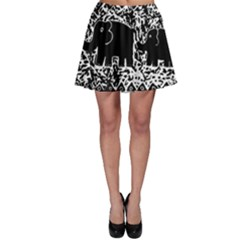 Elephant And Calf Lino Print Skater Skirts by julienicholls