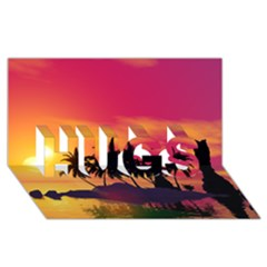Wonderful Sunset Over The Island Hugs 3d Greeting Card (8x4)