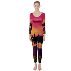 Wonderful Sunset Over The Island Long Sleeve Catsuit by FantasyWorld7