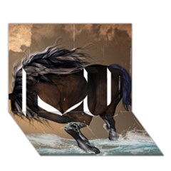 Beautiful Horse With Water Splash I Love You 3d Greeting Card (7x5)  by FantasyWorld7