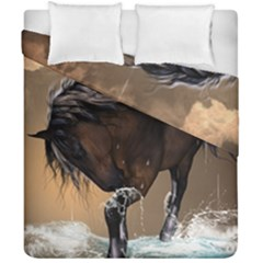 Beautiful Horse With Water Splash Duvet Cover (double Size) by FantasyWorld7