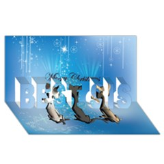 Merry Chrsitmas Best Sis 3d Greeting Card (8x4)  by FantasyWorld7