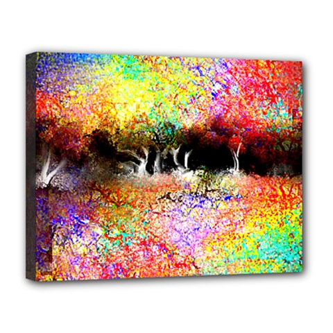 Colorful Tree Landscape Canvas 14  X 11  by theunrulyartist