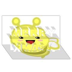 Kawaii Bee Merry Xmas 3d Greeting Card (8x4)