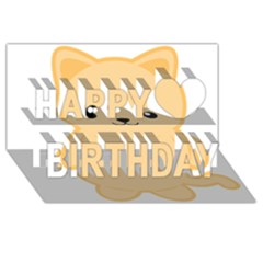 Kawaii Cat Happy Birthday 3d Greeting Card (8x4)
