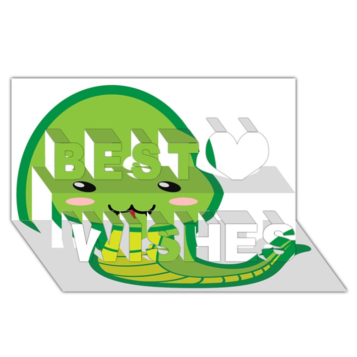 Kawaii Snake Best Wish 3D Greeting Card (8x4)