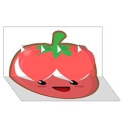 Kawaii Tomato Twin Hearts 3d Greeting Card (8x4)  by KawaiiKawaii