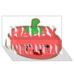 Kawaii Tomato Happy New Year 3d Greeting Card (8x4)  by KawaiiKawaii