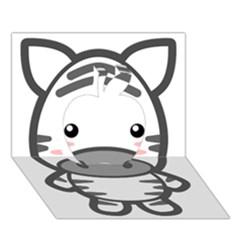 Kawaii Zebra Apple 3d Greeting Card (7x5)  by KawaiiKawaii