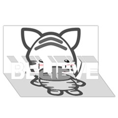 Kawaii Zebra Believe 3d Greeting Card (8x4)  by KawaiiKawaii