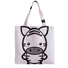 Kawaii Zebra Zipper Grocery Tote Bags by KawaiiKawaii