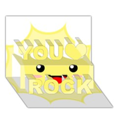 Kawaii Sun You Rock 3d Greeting Card (7x5)