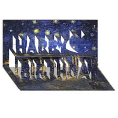 Vincent Van Gogh Starry Night Over The Rhone Happy Birthday 3d Greeting Card (8x4)  by MasterpiecesOfArt