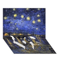 Vincent Van Gogh Starry Night Over The Rhone Love Bottom 3d Greeting Card (7x5)  by MasterpiecesOfArt